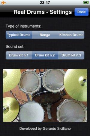 Real Drums per iPhone - Menu applicazione