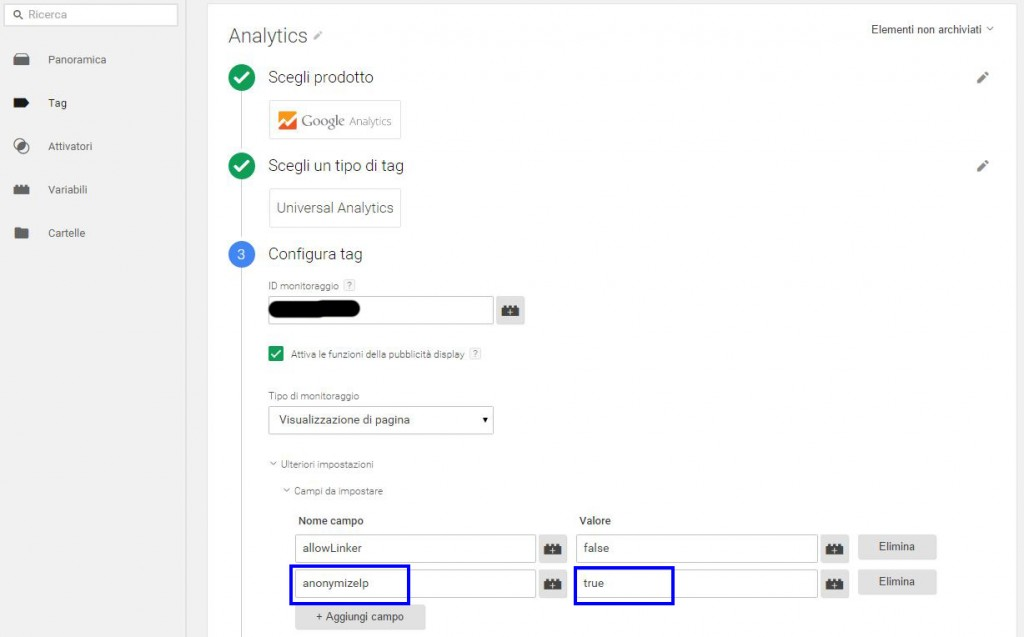 come anonimizzare gli ip di analytics da google tag manager