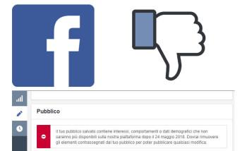 interessi campagne facebook non disponibili